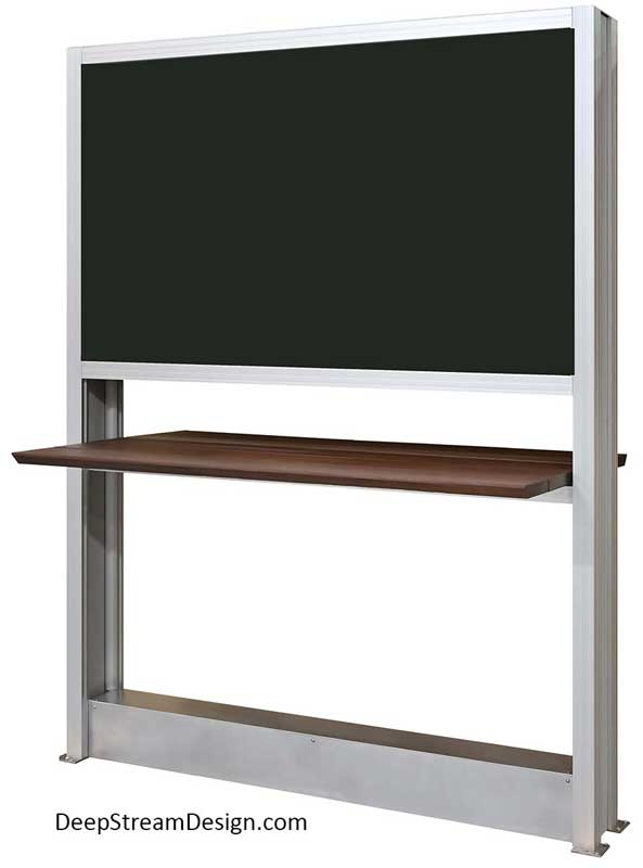 Outdoor TV Stand: A studio photo of a fixed modern Outdoor TV Stand crafted with DeepStream's proprietary marine-anodized structural aluminum extrusions to hold two 65-inch weatherproof TVs back-to-back in the outdoor seating area of a Hard Rock Hotel sports bar with no visible wiring. The two TVs have an Ipe wood bar top underneath it to hold drinks from either side and an aluminum base that hides the wiring that runs up between the back-to-back TVs to emerge unseen. 316 stainless steel feet bolt the TV stand to the deck.