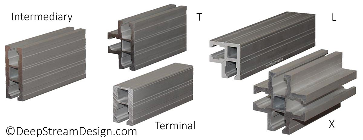 Studio photo of the Audubon anodized Structural Architectural Aluminum Frame System's 5 proprietary extrusion labeled from left to right: Intermediary, T, Terminal extrusion, L corner., and X.