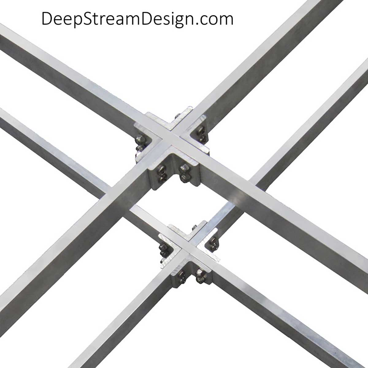 Studio photo showing the interconnection of a double layer of internal cross bracing used as structural reinforcement used with both the Audubon and Mariner Structural Architectural Aluminum Frame System primary extrusions.