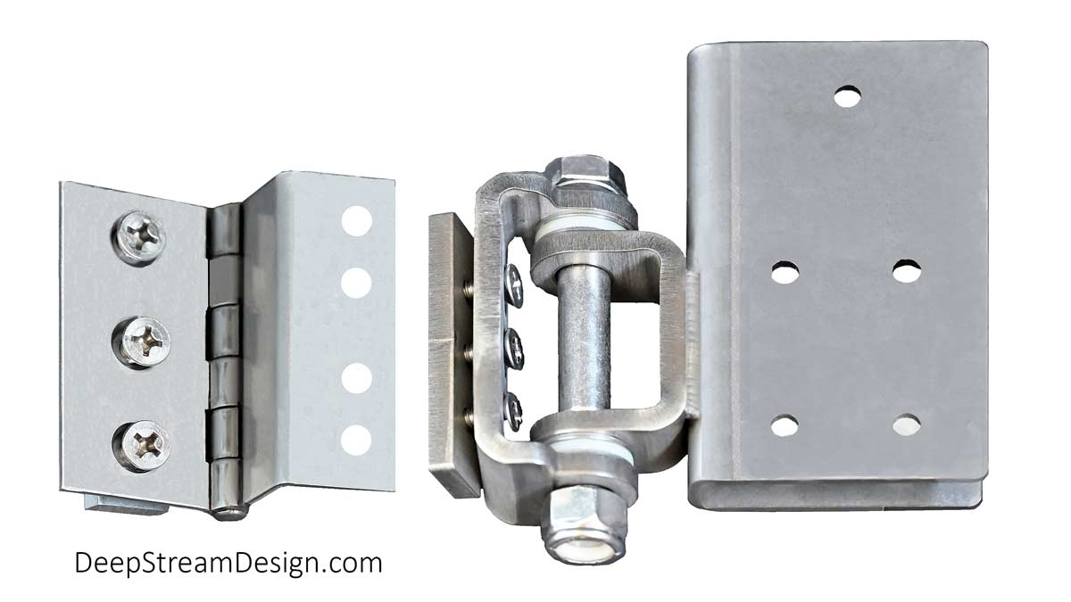 Studio photo of 316 stainless steel medium and heavy-duty gate hinges for the Audubon and Mariner Structural Architectural Aluminum Frame System .