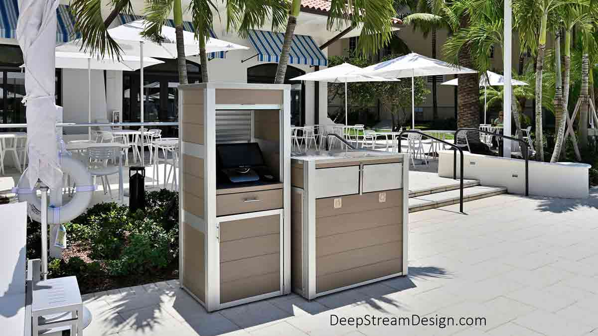 DeepStreams' Audubon Structural Architectural Aluminum Frame System was used to create the waterproof enclosure for point-of-sale systems and a modern commercial combined recycling and trash receptacle for the outdoor restaurant at an upscale waterpark and golf resort.
