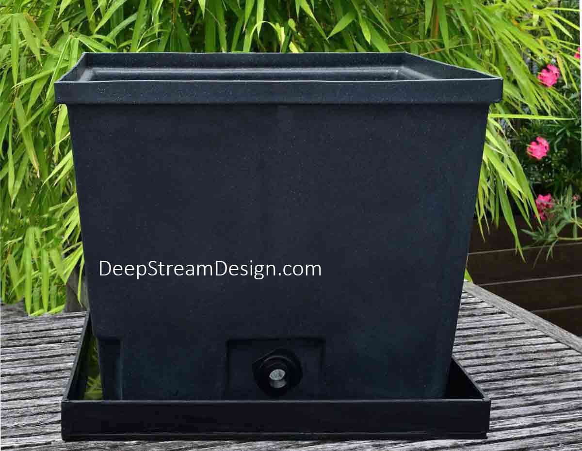 The drip tray is sized so that the tapered base of the rotomolded Waterproof Plastic Planter sits inside it without taking up extra space.  Perfect for indoor and balconies.